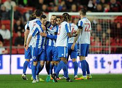 Brighton & Hove Albion players celebrate their second goal - Mandatory by-line: Paul Knight/JMP - 05/11/2016 - FOOTBALL - Ashton Gate - Bristol, England - Bristol City v Brighton and Hove Albion - Sky Bet Championship