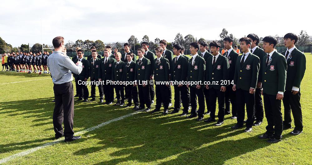 Westlake Boys Choir. Rugby League. NZ Secondary Schools v NSW Combined High Schools. Westlake Boys High School, Auckland, New Zealand on Tuesday 23 September 2014. Photo: Andrew Cornaga/www.photosport.co.nz