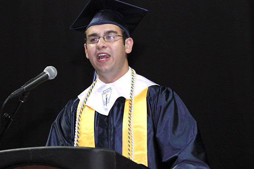 United student body vice president Pasquale Toscano speaks during the 29th annual Kettering Fairmont High School commencement at the Nutter Center in Fairborn, Thursday, May 31, 2012.