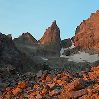 Morning alpine glow on the Sharkstooth.