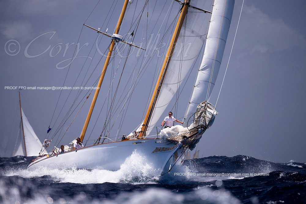 Ticonderoga sailing in the Butterfly Race at the Antigua Classic Yacht Regatta.