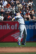 Los Angeles Dodgers shortstop Corey Seager (5) makes a contorted catch against the San Francisco Giants at AT&T Park in San Francisco, California, on April 27, 2017. (Stan Olszewski/Special to S.F. Examiner)