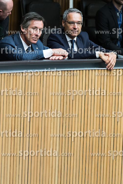 "28.06.2017, Parlament, Wien, AUT, Parlament, Nationalratssitzung, Sitzung des Nationalrates mit einer aktuellen Stunde der ÖVP zum Thema ""Jubiläum 25 Jahre Streitbeilegung Südtirol"", im Bild v.l.t.r. Landtagsvizepräsident Südtirol Thomas Widmann und Fraktionsvorsitzender der Sütdtroler Volkspartei Dieter Steger // f.l.t.r. Vicepresident of the Landtag of South Tyrol Thomas Widmann and Leader of the Peoples Party of South Tyrol Dieter Steger during meeting of the National Council of austria due to the topic 25 years anniversary of dispute resolution with South Tyrol at austrian parliament in Vienna, Austria on 2017/06/28, EXPA Pictures © 2017, PhotoCredit: EXPA/ Michael Gruber"
