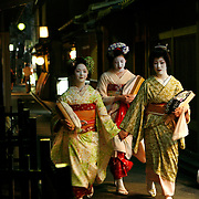 Kyoto, Japan: Pontocho is a narrow alley running from Shijo-dori to Sanjo-dori, one block west of the Kamo River. On occasion Geishas can be seen strolling the alley crammed with bars and tea houses frequented by locals and tourists.<br />  Photograph by Jose More