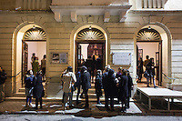 SLIEMA, MALTA - 8 FEBRUARY 2016: The Maltese audience arrives at the Salesian Theatre where the Shakespeare's Globe theatre company will perform  the touring Hamlet , in Sliema, Malta, on February 8th 2016.<br /> <br /> The touring Hamlet, performed by the Shakespeare's Globe theatre company, is part of the Globe to Globe tour that set off in April 2014 (on the 450th anniversary of Shakespeare's birth) with the ambitious intention of visiting every country in the world over 2 years. The crew is composed of a total of sixteen men and women: four stage managers and twelve twelve actors  actors perform over two dozen parts on a stripped-down wooden stage. So far Hamlet has been performed in over 150 countries, to more than 100,000 people and travelled over 150,000 miles. The tour was granted UNESCO patronage for its engagement with local communities and its promotion of cultural education. Hamlet was also played for many dsiplaced people around the world. It was performed in the Zaatari camp on the border between Syria and Jordan, for Central African Republic refugees in Cameroon, and for Yemeni people in Djibouti. On February 3rd it was performed to about 300 refugees in Calais at the camp known as the Jungle.