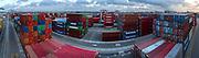 Rubber tire gantries work on the Georgia Ports Authority Port of Savannah, Friday, July, 17, 2015, in Savannah, Ga.  (GPA Photo/Stephen B. Morton)