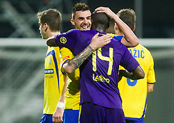 Ivica Guberac and Jean-Philippe Mendy #14 of NK Maribor after the football match between FC Luka Koper and NK Maribor in 12th Round of Prva liga Telekom Slovenije 2013/14 on September 28, 2013 in Stadium Bonifika, Koper, Slovenia. (Photo by Vid Ponikvar / Sportida.com)