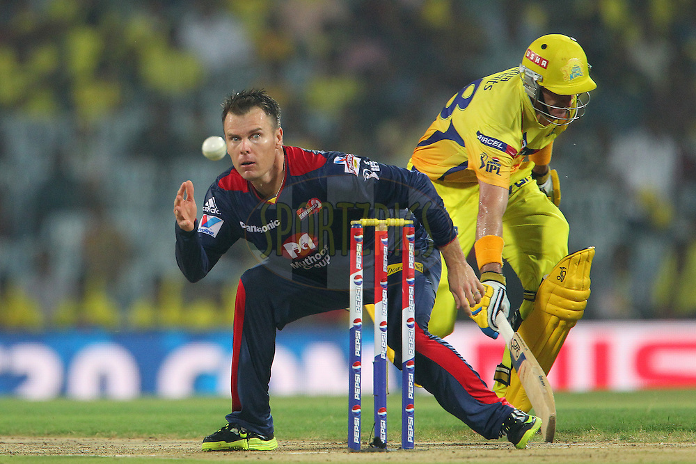 Michael Hussey easily beats the ball back as Johan Botha goes for the run out during match 64 of the Pepsi Indian Premier League between The Chennai Superkings and the Delhi Daredevils held at the MA Chidambaram Stadium in Chennai on the 14th May 2013..Photo by Ron Gaunt-IPL-SPORTZPICS   .. .Use of this image is subject to the terms and conditions as outlined by the BCCI. These terms can be found by following this link:..http://www.sportzpics.co.za/image/I0000SoRagM2cIEc