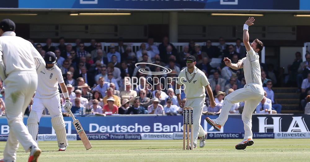 New Zealand Matt Henry bowling during the first day of the Investec 1st Test  match between England and New Zealand at Lord's Cricket Ground, St John's Wood, United Kingdom on 21 May 2015. Photo by Ellie  Hoad.