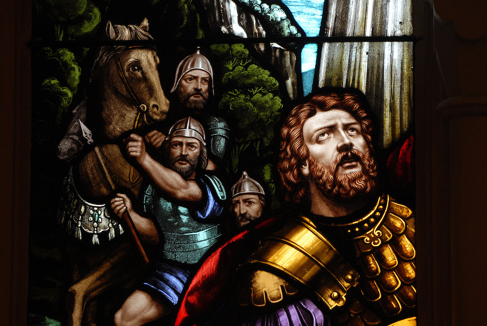Saul (St. Paul of Tarsus) pictured in stained glass window. (Sam Lucero photo)
