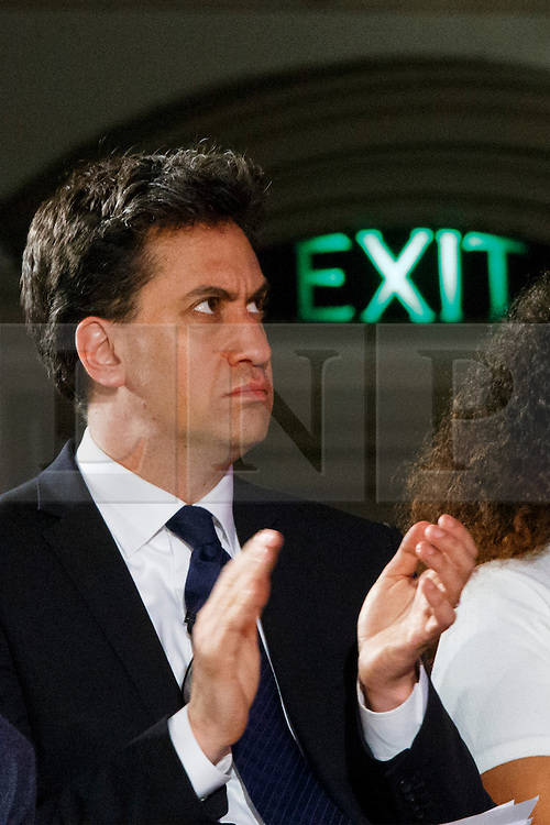 © Licensed to London News Pictures. 04/05/2015. LONDON, UK. Leader of opposition and Labour leader Ed Miliband attending to Citizens UK's assembly at Westminster Central Hall in London on Monday 4 May 2015. Photo credit : Tolga Akmen/LNP
