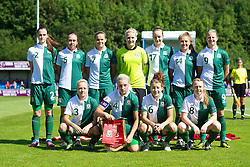 HAVERFORDWEST, WALES - Sunday, August 25, 2013: Wales players line up for a team group photograph before the Group A match against France of the UEFA Women's Under-19 Championship Wales 2013 tournament at the Bridge Meadow Stadium. Back row L-R: Alys Hinchcliffe, Rhian Cleverly, Amy Thrupp, goalkeeper Alice Evans, Samantha Quayle, Amy Wathan, Hannah Keryakoplis. Front row L-R: Lauren Hancock, captain Lauren Price, Angharad James, Rachel Hignett. (Pic by David Rawcliffe/Propaganda)