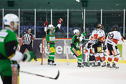 23.10.2012. Hala Tivoli, Ljubljana, SLO, EBEL, HDD Telemach Olimpija Ljubljana vs HC TWK Innsbruck Die Haie, 15. Runde, in picture Jan Mursak (HDD Telemach Olimpija, #39) scores a goal during the Erste Bank Icehockey League 15th Round match between HDD Telemach Olimpija Ljubljana and HC TWK Innsbruck Die Haie at the Hala Tivoli, Ljubljana, Slovenia on 2012/10/23. (Photo By Matic Klansek Velej / Sportida)