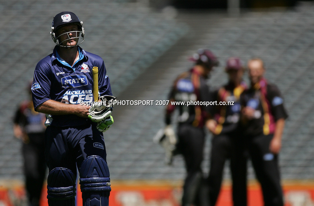 Gareth Hopkins leaves the field after being dismissed for 12 runs. State Auckland Aces v State Northern Knights. State Shield Cricket. Eden Park Outer Oval, Auckland, New Zealand. Sunday 30 December 2007. Photo: Hagen Hopkins/PHOTOSPORT