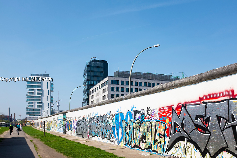 View of original section of Berlin Wall at East Side Gallery in Friedrichshain, Berlin, Germany