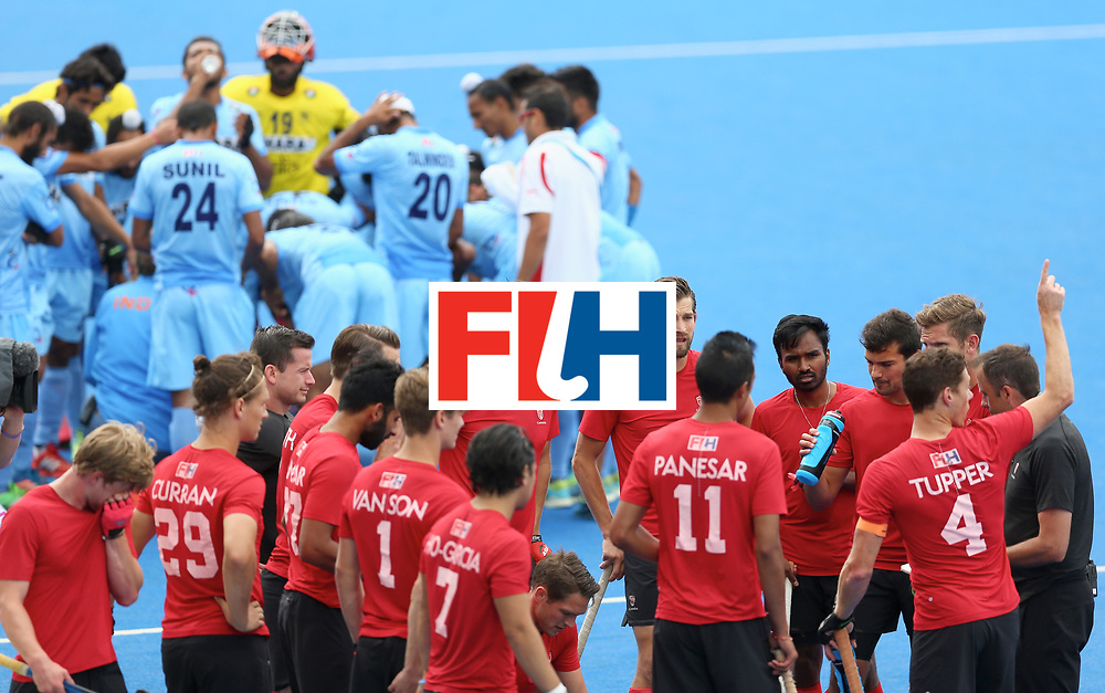 LONDON, ENGLAND - JUNE 25: India and Canada teams huddle during the 5th/6th place match between India and Canada on day nine of the Hero Hockey World League Semi-Final at Lee Valley Hockey and Tennis Centre on June 25, 2017 in London, England. (Photo by Steve Bardens/Getty Images)