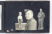 collage memorial page at the hard back of a vintage photo album
