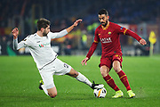 Michael Novak of Wolfsberg (L) and Leonardo Spinazzola of Roma (R) in action during the UEFA Europa League, Group J football match between AS Roma and Wolfsberg AC on December 12, 2019 at Stadio Olimpico in Rome, Italy - Photo Federico Proietti / ProSportsImages / DPPI