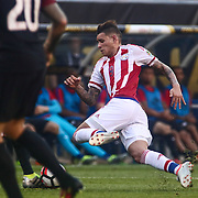 Paraguay Attacker ANTONIO SANABRIA (9) falls to the turf in the first half of a Copa America Centenario Group A match between the United States and Paraguay Saturday, June. 11, 2016 at Lincoln Financial Field in Philadelphia, PA.