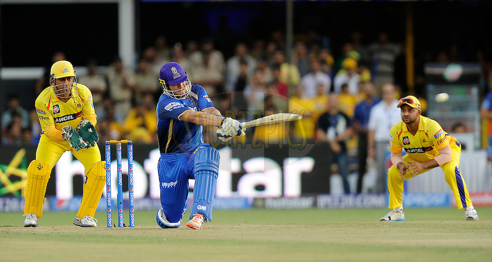 Shane Watson captain of Rajasthan Royals bats during match 15 of the Pepsi IPL 2015 (Indian Premier League) between The Rajasthan Royals and The Chennai Superkings held at the Sardar Patel Stadium in Ahmedabad , India on the 19th April 2015.<br /> <br /> Photo by: Pal Pillai / SPORTZPICS / IPL
