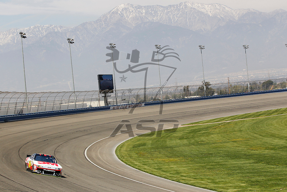 FONTANA, CA - MAR 23, 2012:  Greg Biffle (16) brings his car through turn 4 during the Auto Club 400 at the Auto Club Speedway in Fontana, CA.