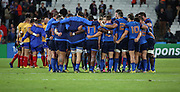 France team talk discussing the game during the Rugby World Cup Pool D match between France and Romania at the Queen Elizabeth II Olympic Park, London, United Kingdom on 23 September 2015. Photo by Matthew Redman.