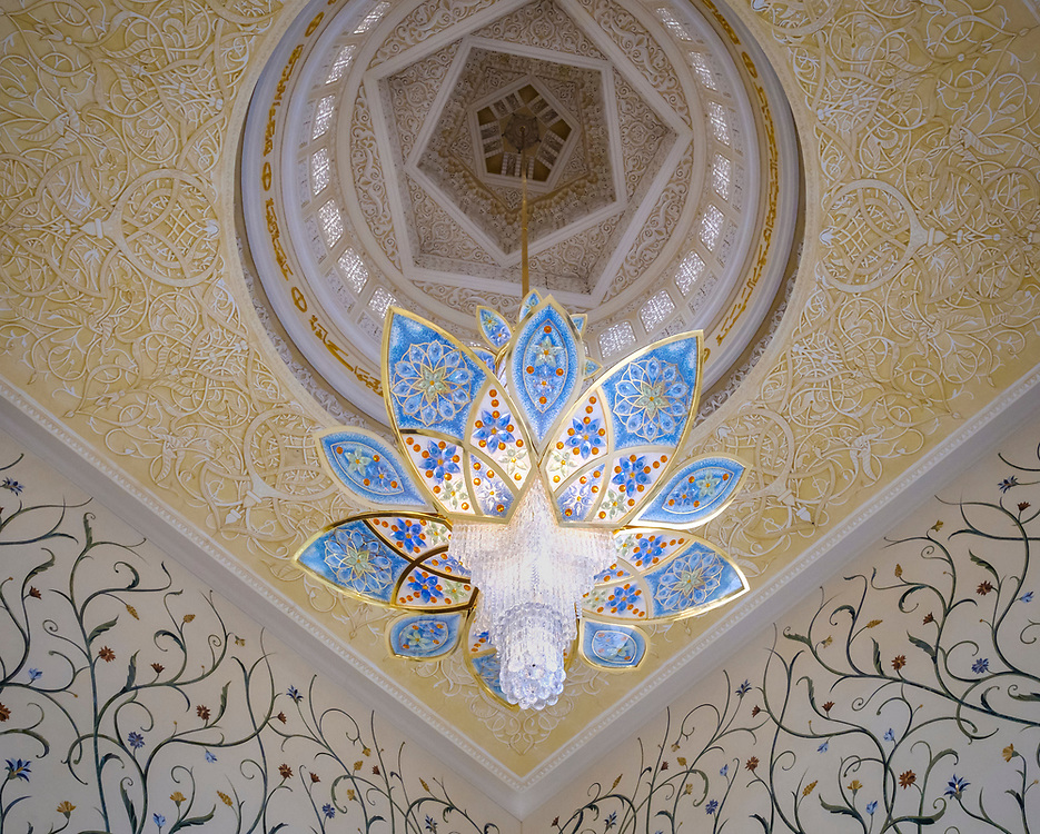 UNITED ARAB EMIRATES, ABU DHABI - CIRCA JANUARY 2017:  Swarovski Chandelier in the nterior of the main prayer hall in Sheikh Zayed Mosque