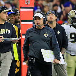 Nov 29, 2015; Houston, TX, USA; New Orleans Saints head coach Sean Payton and defensive coordinator Dennis Allen during the first half of a game against the Houston Texans at NRG Stadium. Mandatory Credit: Derick E. Hingle-USA TODAY Sports