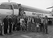 24/02/1979.02/24/1979.24th February 1979.Photograph of the group of 15 walkers who left Cork to walk to Rome in aid of charity returning to Ireland. Pictured second to the left is Mr Michael Fingleton, Chairman, Concern.