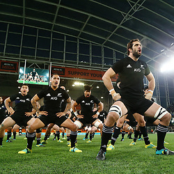 DUNEDIN, NEW ZEALAND - JUNE 23:  Sam Whitelock of the All Blacks leads the haka prior to the International Test match between the New Zealand All Blacks and France at Forsyth Barr Stadium on June 23, 2018 in Dunedin, New Zealand.  Photo by Anthony Au-Yeung / POOL