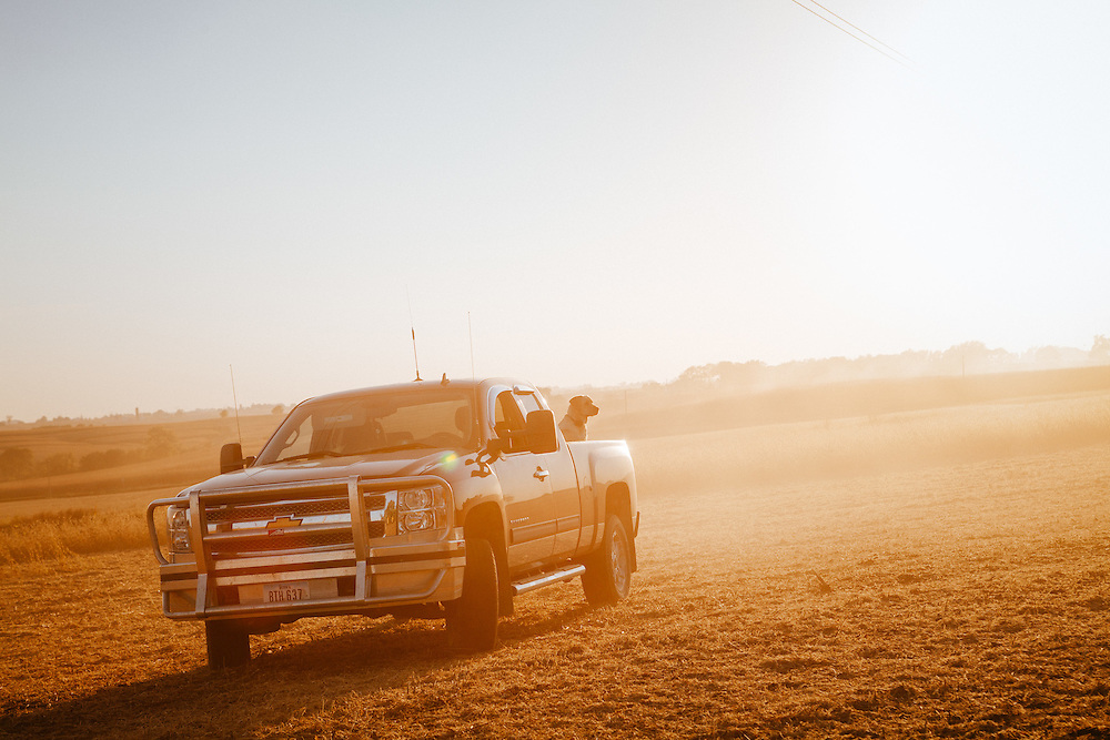 Driving off road on a farm in Iowa.<br />