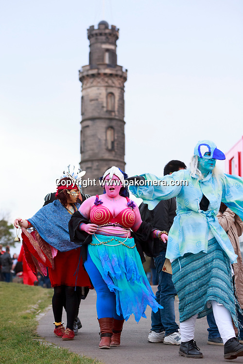 Edinburgh, Scotland, UK. 30th April 2017. Beltane Fire Festival plays host to a cavalcade of colourful characters and a narrative guides the night at Calton Hill, Edinburgh. Pako Mera.