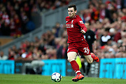 Liverpool's flying Scotsman Liverpool defender Andrew Robertson (26) during the Premier League match between Liverpool and Tottenham Hotspur at Anfield, Liverpool, England on 31 March 2019.