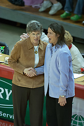 12 November 2006: Coach Sharon Dingman and Coach Bobbi Petersen exchange best wishes before the start of the 1st game..In the final regular season home game at ISU, the Northern Iowa Panthers defeated the Illinois State Redbirds 3 game to 1. The match took place at Redbird Arena on the campus of Illinois State University in Normal Illinois.<br />