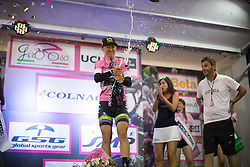 Leah Kirchmann (CAN) of Liv-Plantur Cycling Team celebrates her stage win after the Giro Rosa 2016 - Prologue. A 2 km individual time trial in Gaiarine, Italy on July 1st 2016.