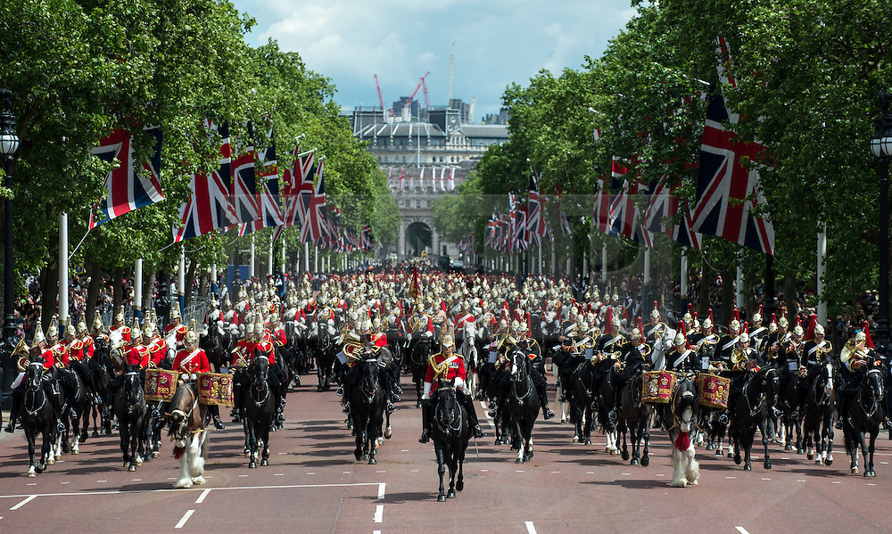 © London News Pictures. 30/05/2015. London, UK. There were almost 250 military horses on parade including the famous Drum Horses of the Household Cavalry Mounted Band. The Major General's Review on Horse Guards Parade, London. 5,500 spectators filled the stands to witness the first of three annual world class military demonstrations that culminate with the Queen's Birthday Parade on 13th June. Photo credit: Sergeant Rupert Frere/LNP