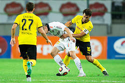 Tadej Trdina of WAC vs  Mats Hummels of Borussia Dortmund during football match between WAC Wolfsberg (AUT) and  Borussia Dortmund (GER) in First leg of Third qualifying round of UEFA Europa League 2015/16, on July 30, 2015 in Wörthersee Stadion, Klagenfurt, Austria. Photo by Vid Ponikvar / Sportida