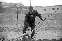China, Taihuai, 2003. In a spring scene that has not changed much over the years, a farmer guides a rudimentary plow through the cold soil of his fields near Wutai Shan..