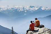 See the Coast Range from Overlord Trail on Blackcomb Mountain, in Garibaldi Provincial Park, British Columbia, Canada. The Resort Municipality of Whistler is popular for a variety of outdoor sports.