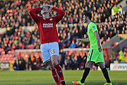 Swindon Morgan Penfold (33) frustrated after missing a great chance on goal first half 0-0 during the EFL Sky Bet League 1 match between Swindon Town and Peterborough United at the County Ground, Swindon, England on 21 January 2017. Photo by Gary Learmonth.