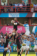 Gloucester, Great Britain, Spectators watch the line out during the Argentina vs Georgia, Pool C. game. 2015 Rugby World Cup, Venue. Kingsholm Stadium. England, Friday - 25/09/2015 <br /> [Mandatory Credit; Peter Spurrier/Intersport-images]
