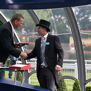 Sir Matthew Pinsent presents Scenic Blast's trainer Dan Morton with his trophy after  Australian horse Scenic Blast won The King's Stand Stakes, The British leg of the global sprint challenge, at Royal Ascot 2009, Ascot, UK, on Tuesday, June 17, 2009. Photo Tim Clayton.