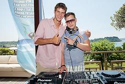 Blaz Rola and Alaya DJ during press conference of ATP Challenger Tilia Slovenia Open 2013, on June 20, 2013 in Hotel Metropol, Portoroz, Slovenia. (Photo By Vid Ponikvar / Sportida)