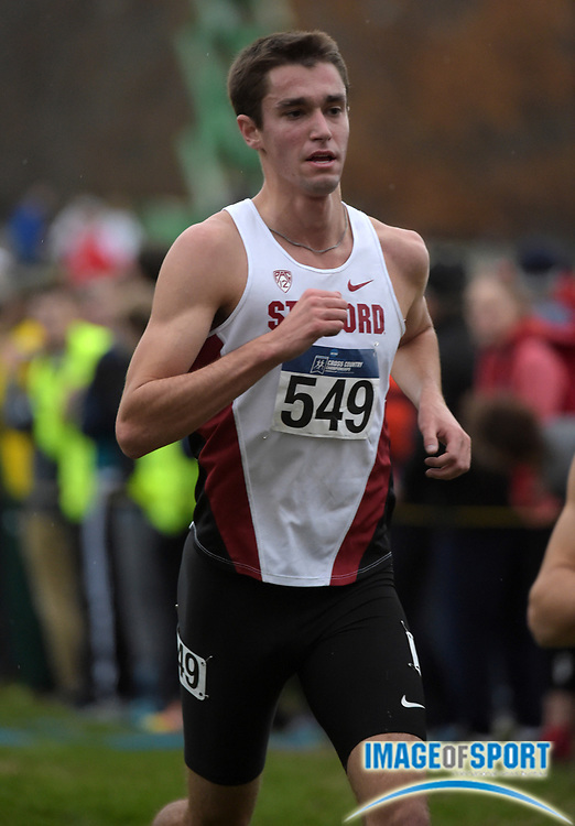 Nov 21, 2015; Louisville, KY, USA; Sean McGorty of Stanford places seventh in 29;53 during the 2015 NCAA cross country championships at Tom Sawyer Park.