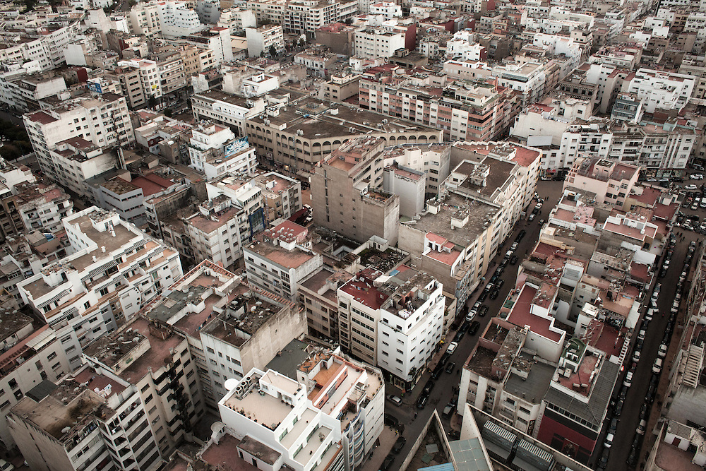 Casablanca, March 2015. Eye view of the city near the neighbour of Palmier, where the association Solidaritè Feminine is located.