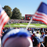 Ryder Cup 2016. Day Two. Spectators during the Ryder Cup watching play on the sixteenth at the Hazeltine National Golf Club on October 01, 2016 in Chaska, Minnesota.  (Photo by Tim Clayton/Corbis via Getty Images)