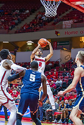 NORMAL, IL - November 29: Zach Copeland pulls up short for a fader during a college basketball game between the ISU Redbirds and the Prairie Stars of University of Illinois Springfield (UIS) on November 29 2019 at Redbird Arena in Normal, IL. (Photo by Alan Look)