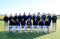 A Team USA group photo. Back Row (left-right): Zach Johnson, David Duval, Brooks Koepka, Bryson Dechambeau, Webb Simpson, Tony Finau, Dustin Johnson, Bubba Watson, Jordan Spieth, Patrick Reed, Matt Kuchar, David Love and Steve Stricker. Front Row (left-right): Justin Thomas, Tiger Woods, Jim Furyk, Phil Mickelson and Rickie Fowler during preview day three of the Ryder Cup at Le Golf National, Saint-Quentin-en-Yvelines, Paris.