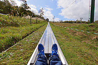 The summit of Mt Tenguyama is home to a high speed toboggan ride. Otaru, Hokkaido, Japan.