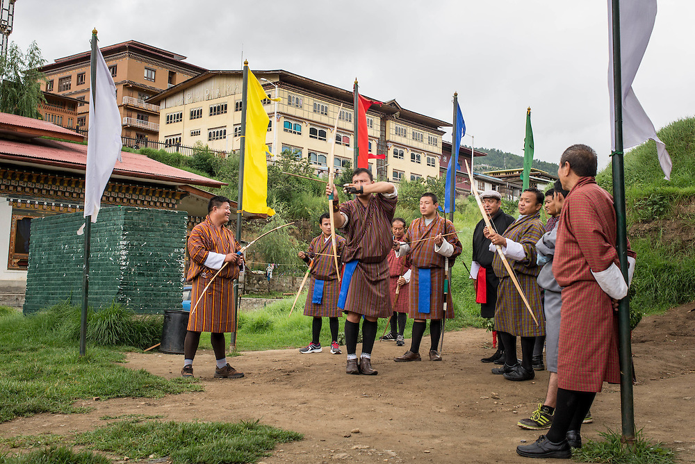 An archery competition in Thimpu, Bhutan<br />